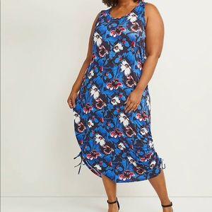 Lane Bryant Midi Dress w/Ruched Drawstring Size 26